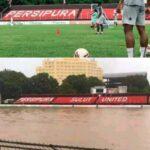 Banjir Manado, Stadion Klabat Seketika Jadi Kolam